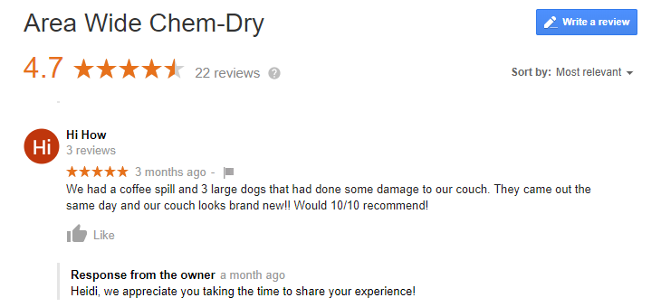 Review by a happy Customer of AreaWide Chem Dry, Dayton Ohio